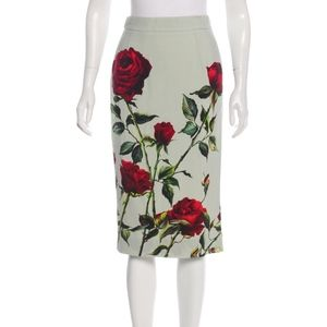 Dolce Gabbana Roses print mid skirt IT 40